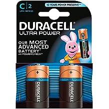 Duracell Ultra Power Batterie alcaline, Mezzatorcia, C, Confezione da 2