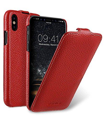 Edle Tasche für Apple iPhone XS & iPhone X / Case Außenseite aus beschichtetem Leder / Schutz-Hülle aufklappbar / Flip-Case / Etui / ultra-slim / Cover Innenseite aus Textil / Rot