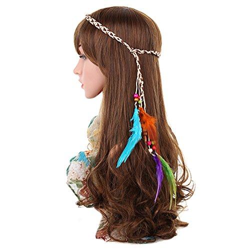 SNOWINSPRING Stirnband Feder Stirnband Frauen Maedchen Stretchy geflochtenes Blatt Bead Haar ()