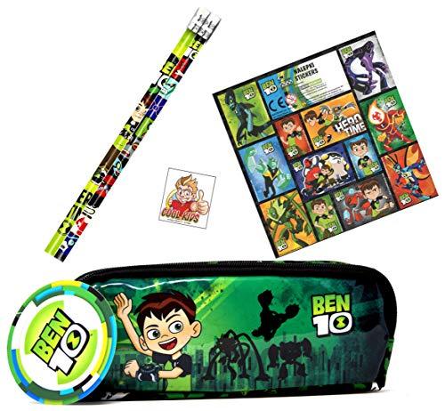 Ben 10 3-TLG. Set - Doppel-Schlamper-Etui / Schlamperrolle / Federtasche + 2 Bleistifte + 12 Sticker - Super Doppel Schlamper für die Schule -