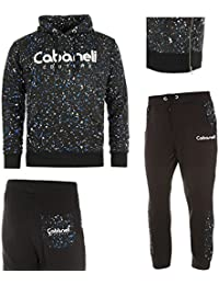 Cabaneli - Ensemble Jogging Sarouel avec Sweat Snow Noir Bleu