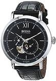Hugo BOSS Herren Datum klassisch Automatik Uhr mit Leder Armband 1513504
