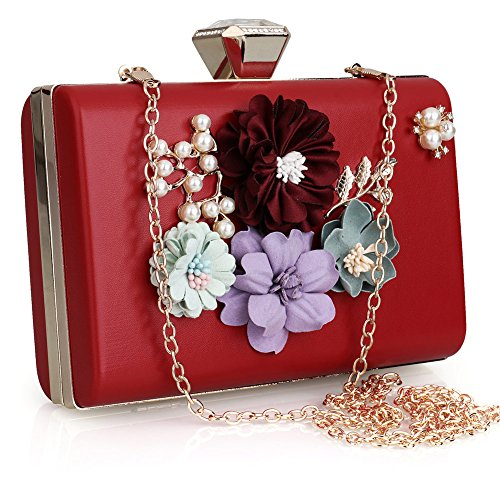 SSMK Leather Clutch Bag, Poschette giorno donna Red