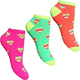 Women's Fluorescent Neon Stripy Hearts Trainer Socks Liners (3 Pair Pack)