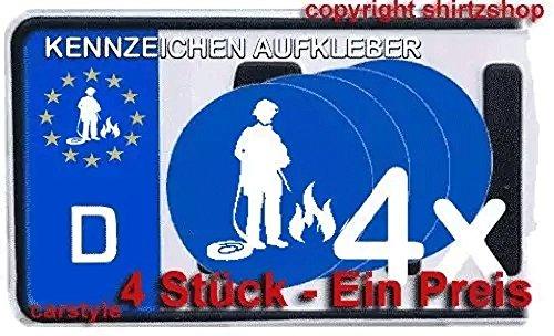 Feuerwehr II rettungsdienst feuerwehrmann NUMMERNSCHILD NUMMERNSCHILD Aufkleber Autoaufkleber 4er Set