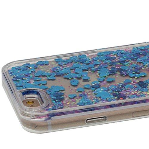 Coque Dur Flowable Transparent Liquide / Coeurs / Étoiles / Sable Conception Série Clair Housse de protection Case pour Apple iPhone 6 Plus / 6S Plus 5.5 inch avec 1 stylet bleu