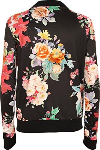WearAll - Damen Blumendruck Reißverschluss bis Mantel Bomber Jacke - 3 Farben - Größen 36-42 Schwarz Groß Rose