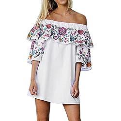 Bluester Women Boho Floral Off Shoulder Party Dress, Ladies Ruffle Beach Mini Dress