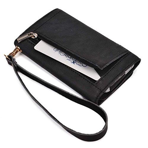 Kroo Pochette en cuir véritable pour téléphone portable pour Philips w8500 Marron - peau noir - noir