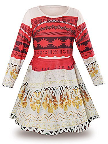 JerrisApparel Princess Moana Long Sleeve Costume Party Dress Up For Girls (7-8, multicolored)
