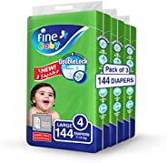 Fine Baby Double Lock, Size 4, Large, 7-14 kg, Three Jumbo Packs, 144 Diapers