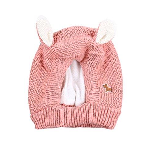 Huhu833 Baby Hüte, Baby Kleinkind Kinder Junge Mädchen Katze gestrickte häkeln Beanie Winter warme Mütze (Rosa) -