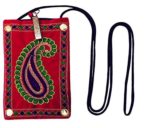 Le Donne Indiane Borsa Cinghia Lunga Elegante Sacchetto Della Moneta Sacchi Di Denaro Ricamo Borsa A Tracolla Rosa-B