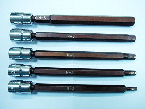 5 pcs Lot de NEUF Long métrique hexagonale 3–8 mm Douilles 1/10,2 cm Drive Socket