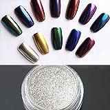Nail Powder Mirror LuckyFine Magic Mirror Chrome Effect Metallic Powder Set Nail Art Additive Pigment Sliver silver