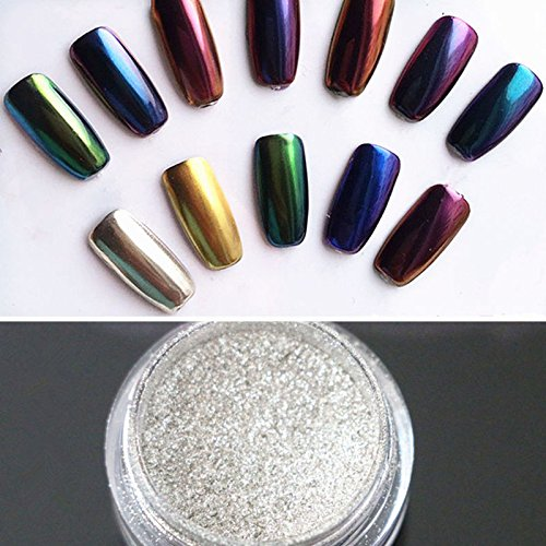 Nail Powder Mirror LuckyFine Magic Mirror Chrome Effect Metallic Powder Set Nail Art Additive Pigment Sliver silver