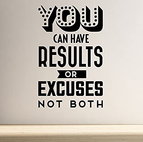 Results or Excuses Motivational Retro Vintage Style Wall Decal 5