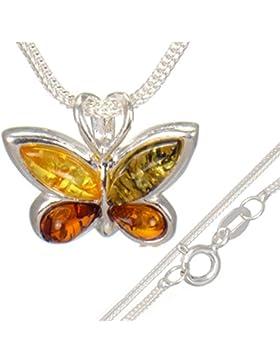 Bernstein Schmetterling-Anhänger für die Kids mit 40 cm Kinderkette aus 925er Silber#568