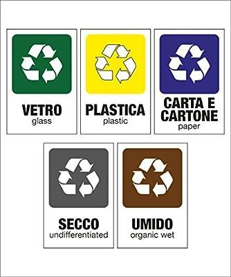 Set adesivi raccolta differenziata - pack di 5 cartelli adesivi + 5 etichette - Carta, Secco, Umido, Vetro, Plastica - Kamiustore by kamiustore