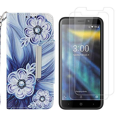 crisant Xiaomi Mi Mix 2S Hülle Perle Blume PU Leder Magnetverschluss Ständer Flip Schutzhülle Handyhülle Für Xiaomi Mi Mix 2S (5,99 Zoll) Mit Zwei gehärtetem Glas-Displayschutzfolie