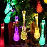 esonstyle 30LED 19.7ft Solar cuerda–Luz Agua Densidad Protección Solar Cristal Gota Solar lámpara para jardín/Home/Boda/Navidad/Fiesta/vacaciones/Calles de decoración