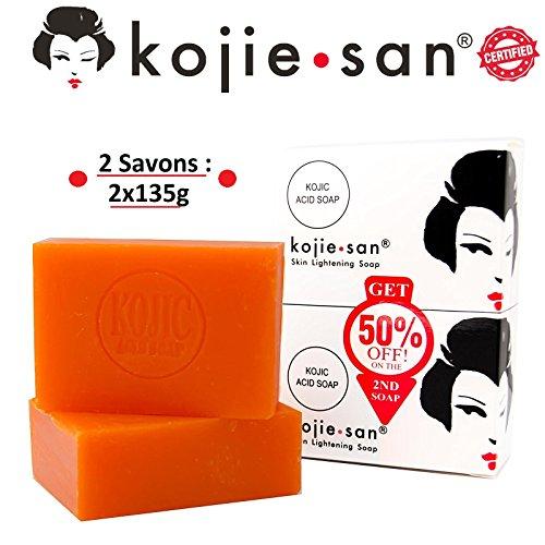 Lot de 2 Savons Éclaircissant Kojic Acid Skin Lightning Soap de Kojie San - 2x135g