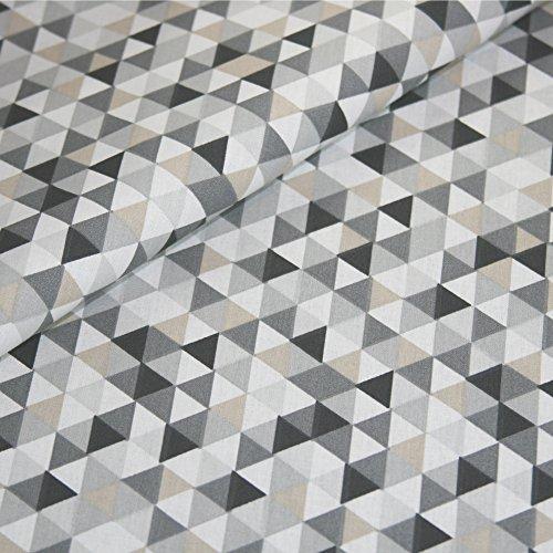 Baumwolle Stoff Geometrisch Meterware Dreieck Geo Muster Dekostoff Bezugsstoff Preis pro Meter (Stoff Geometrisches Muster)