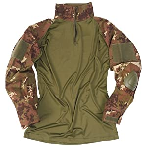 Tactical Warrior Mens Shirt with Elbow Pads Airsoft Vegetato Camo from Mil-Tec