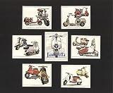 Lambretta-Motorroller-Modell A, B, C, D, LC, LD, L1, TV175 S3, SX200 und GP200-Sammelkarten