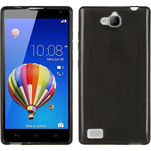 PhoneNatic Case kompatibel mit Huawei Honor 3C - schwarz Silikon Hülle transparent + 2 Schutzfolien