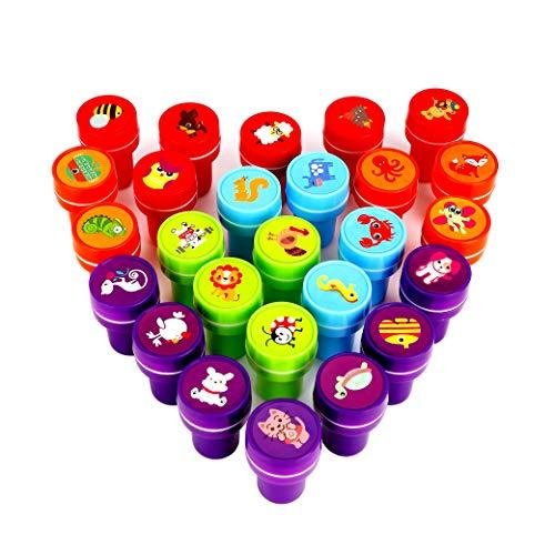 MaoXinTek Stempel Tiere Set Kinderstempel Selbstfärbende Stempelset Kinder Niedliche Spielzeugstempel für Geburtstag Kinder Party Weihnachten 26 Stück