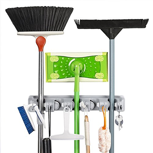 CASEWIND Gerätehalter Grau Werkzeughalter 5 Halter 6 Haken, Wandmontieren Bohren Toiletten Badezimmer Accessoires aus ABS Plastik Kunststoff