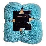 GODGETS Warme und Weiche TV-Kunstfell Deko/Kuscheldecke Klimaanlage Decke Sofa Decke Mikrofaserdecke Fleecedecke Fleece Weich Sanft Flauschig Blau 130×160 cm