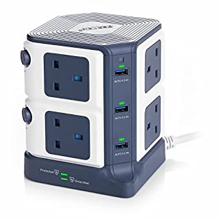 BESTEK 8 Way Surge Protected Tower Extension Lead Socket Plug with 6-Port (5V/8A) USB Power Strip 3250W/1.8M
