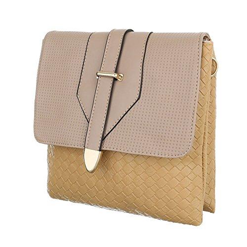 Ital-Design, Borsa a spalla donna beige/marrone