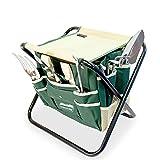 (7in1) GardenHome Gartenwerkzeug Hocker - Klapphocker inklusive 5-teiligem Edelstahl Werkzeug Set - Gratis Tragetasche zur Aufbewahrung der Gartengeräte - rostfrei und sehr robust - perfekte Geschenkidee für Hobby und Profigärtner
