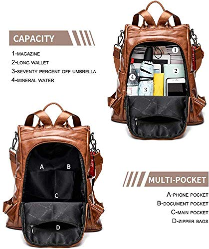 PARADOX Girl's Water Resistant Vegan Leather Anti-Theft School Shoulder Backpack (Brown) Image 3