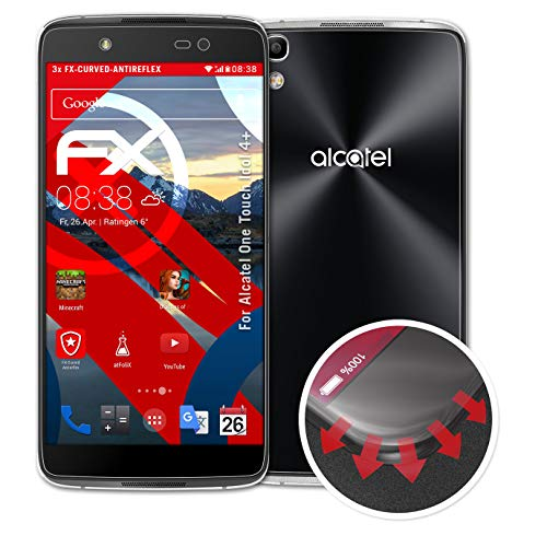 atFolix Schutzfolie passend für Alcatel One Touch Idol 4+ Folie, entspiegelnde & Flexible FX Bildschirmschutzfolie (3er Set)