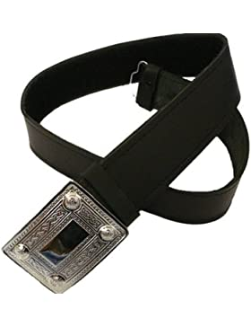 Kiltgürtel DeLuxe aus Leder mit Schnalle, passend für 71cm - 117cm