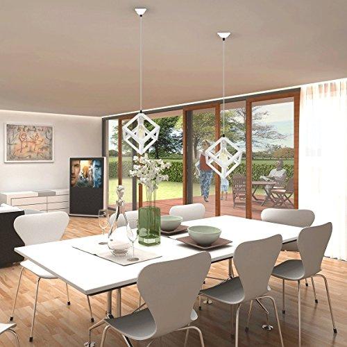 miglior prezzo KINGSO Bianco E27 Lamp Shade sospensione del soffitto Lampadario con Socket riparo della parete di illuminazione industriale Retro