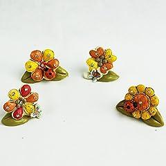 Idea Regalo - DLM26585 (kit 24 pezzi) Margherita Quadrifoglio Girasole con Farfalla e Coccinella Portafortuna bomboniera