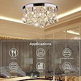 CCLIFE Lámpara Araña de Techo de Cristal,Instalación Fija con