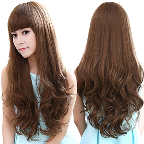 Große Welle Langes Haar Perücke/Natürliche gefälschte Haare-A