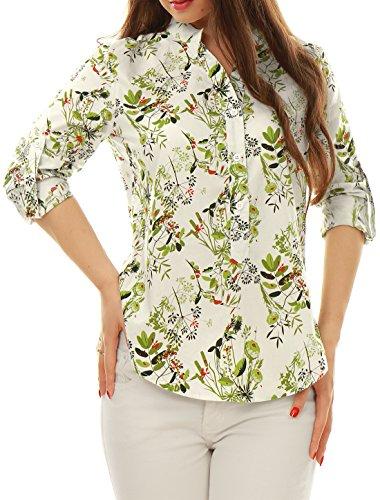 Allegra K Femme Manches Roulées ourlet haut/bas Chemise Floral green