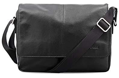 BOVARI Messenger en cuir Sac bandoulière sac porté épaule 35x27x8 cm - adulte - Model Nizza - noir -