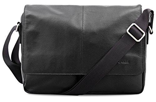 Bovari Herren Damen Echt Leder Schultertasche Umhängetasche Messenger Bag Tablet-Tasche Notebook-Tasche 13 Zoll - Modell Monza - Schwarz