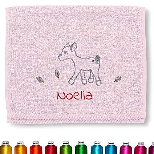 Sterntaler Kinder/Baby Handtuch bestickt mit Namen für Mädchen, Kinderhandtuch personalisiert (Waldis Rosie Rosa Reh)