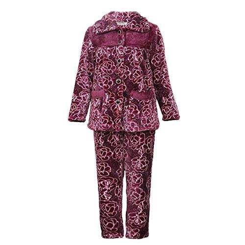 HXQ Set di Pigiama Flanella a maniche lunghe in Cotone 100% Donna purple