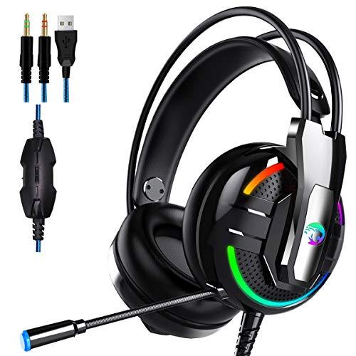 Dollcora Head-Mounted Wired Kopfhörer Lighting Gaming Headsets für Gaming Audio und Video Kopfhörer schwarz