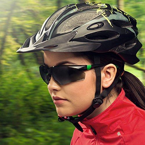 NoCry Sonnen-Schutzbrille mit grün getönten, kratzbeständigen Gläsern, Seitenschutz und rutschfesten Bügeln, UV 400 Schutz, verstellbar, schwarz grüner Rahmen. - 2